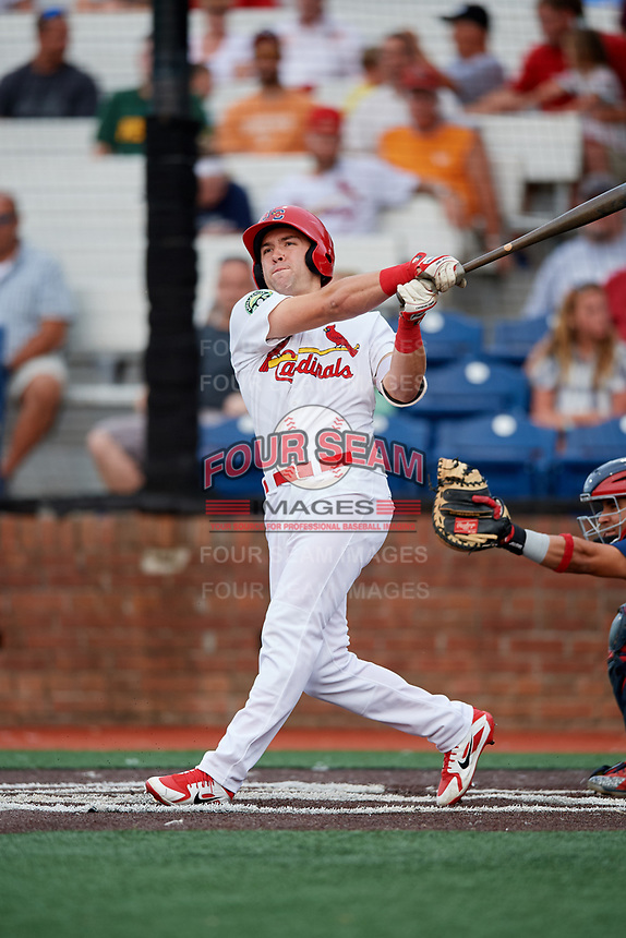 Johnson City Cardinals shortstop Michael Perri (8) follows through on a swing during a game against the Danville Braves on July 28, 2018 at TVA Credit Union Ballpark in Johnson City, Tennessee.  Danville defeated Johnson City 7-4.  (Mike Janes/Four Seam Images)