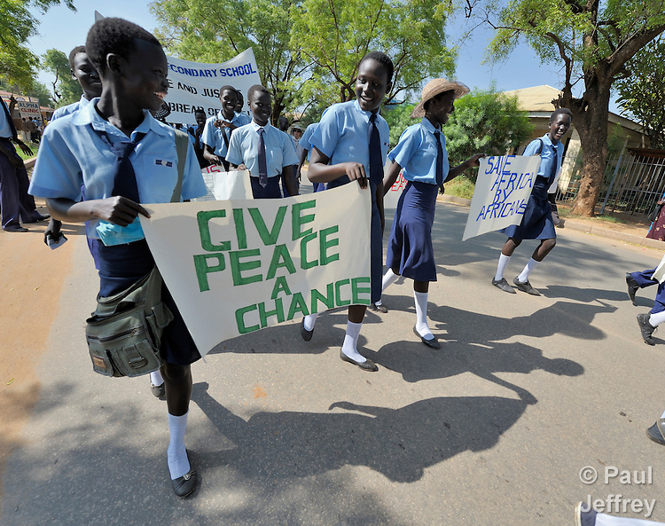 Catholic school girls participate in a procession through the streets of Juba on November 20 to pray for a peaceful January 2011 referendum on Southern Sudan's secession from the north of the country. The independence vote has widespread support throughout Southern Sudan, including among Catholics and other Christians. NOTE: In July 2011 Southern Sudan became the independent country of South Sudan.