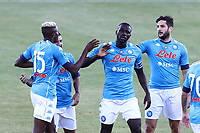 Victor Osimhen of SSC Napoli celebrates with team mates after scoring a goal<br /> during the friendly football match between SSC Napoli and SS Teramo Calcio 1913 at stadio Patini in Castel di Sangro, Italy, September 04, 2020. <br /> Photo Cesare Purini / Insidefoto
