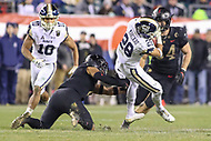 Philadelphia, PA - December 8, 2018:  Navy Midshipmen tight end Keoni-Kordell Makekau (28) catches a pass during the 119th game between Army vs Navy at Lincoln Financial Field in Philadelphia, PA. (Photo by Elliott Brown/Media Images International)