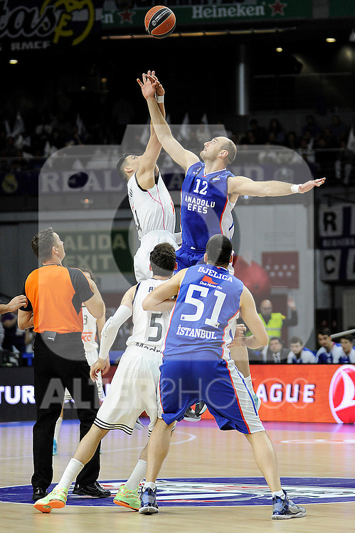 Real Madrid´s Gustavo Ayon and Anadolu Efes´s Nenad Krstic during 2014-15 Euroleague Basketball Playoffs match between Real Madrid and Anadolu Efes at Palacio de los Deportes stadium in Madrid, Spain. April 15, 2015. (ALTERPHOTOS/Luis Fernandez)