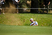9th February 2018, Lake Karrinyup Country Club, Karrinyup, Australia; ISPS HANDA World Super 6 Perth golf, second round; Lee Westwood (ENG) hits out of the bunker