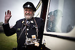 © Joel Goodman - 07973 332324 . 24/05/2014 . Heywood Station , Railway Street , Heywood, UK . Bus conductor ROBIN COTTON from Milnrow on vintage bus . 1940s weekend on the East Lancs Railway , with visitors dressed up and partaking in 40s-themed events . Photo credit : Joel Goodman