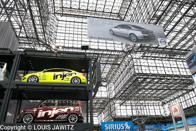 Transportation, Horizontal,  Parking Lot  indoors javitz center n.y.c. ny cars stacked 2007 car show javitz