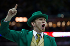 Apr 7, 2013; Notre Dame leprechaun cheers the team on during the semifinals against Connecticut in the 2013 NCAA women's basketball Final Four at the New Orleans Arena. Connecticut defeated Notre Dame 83 to 65. Photo by Barbara Johnston/ University of Notre Dame