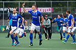 AMSTELVEEN - vreugde  bij Kampong, , Quirijn Caspers (Kampong) , Philip Meulenbroek (Kampong)   tijdens  de shoot outs, bij  de  eerste finalewedstrijd van de play-offs om de landtitel in het Wagener Stadion, tussen Amsterdam en Kampong (1-1). Kampong wint de shoot outs.  . COPYRIGHT KOEN SUYK