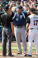 Pensacola Blue Wahoos manager Pat Kelly (33) before a game against the Jacksonville Suns at Bragan Field on the Baseball Grounds of Jacksonville on May 11, 2015 in Jacksonville, Florida. Jacksonville defeated Pensacola 5-4. (Robert Gurganus/Four Seam Images)