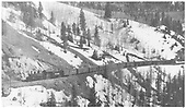 Panoramic fireman's-side view of RGS K-27 #455 climbing Keystone Hill with a 11-car freight.<br /> RGS  Keystone Hill, CO  Taken by Logue, S. L. (Les) - 4/15/1949