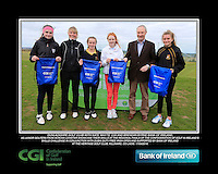 Dunlaoighre Golf Club Girls With Kate Wright CGI and Brendan Byrne Bank of Ireland.<br /> Junior golfers from across Leinster practicing their skills at the regional finals of the Dubai Duty Free Irish Open Skills Challenge supported by Bank of Ireland at the Heritage Golf Club, Killinard, Co Laois. 2/04/2016.<br /> Picture: Golffile | Fran Caffrey<br /> <br /> <br /> All photo usage must carry mandatory copyright credit (© Golffile | Fran Caffrey)