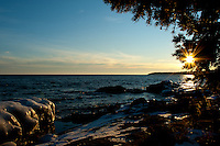 Sunset over Lake Superior at Cascade River State Park in Minnesota