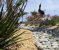 San Diego International Airport--sculpture and landscaping at Terminal 2 (Green Build project). Sustainable landscape solutions with a contemporary look which blends with environment. Patricia Trauth, Landscape Architect.
