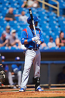 South Bend Cubs right fielder Eddy Martinez (15) at bat during a game against the Lake County Captains on July 27, 2016 at Classic Park in Eastlake, Ohio.  Lake County defeated South Bend 5-4.  (Mike Janes/Four Seam Images)