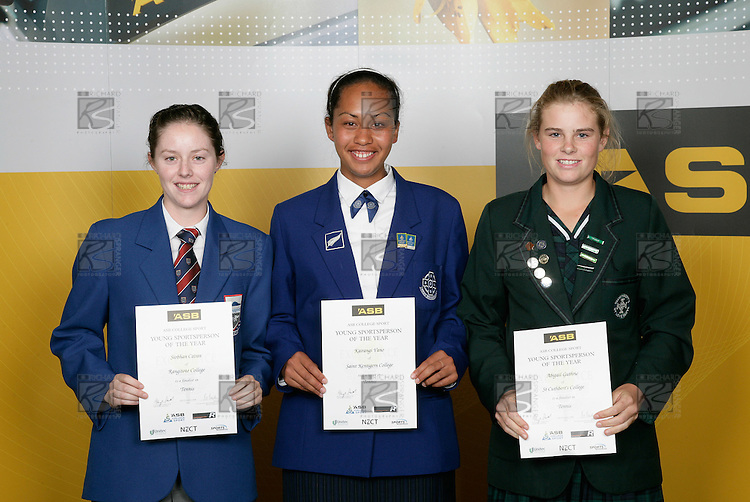 Tennis Girls Finalists. ASB College Sport Young Sportsperson of the Year Awards 2006, held at Eden Park on Thursday 16th of November 2006.<br />