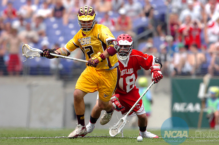 27 MAY 2007: Midfielder Ryan Brown #12 of Salisbury University  and Josh Cittadino #18 of Cortland State fight for the ball during the Division III Men?s Lacrosse Championship held at M&T Bank Stadium in Baltimore, MD. Salisbury defeated Cortland 15-9 for the national title.  Larry French/NCAA Photos