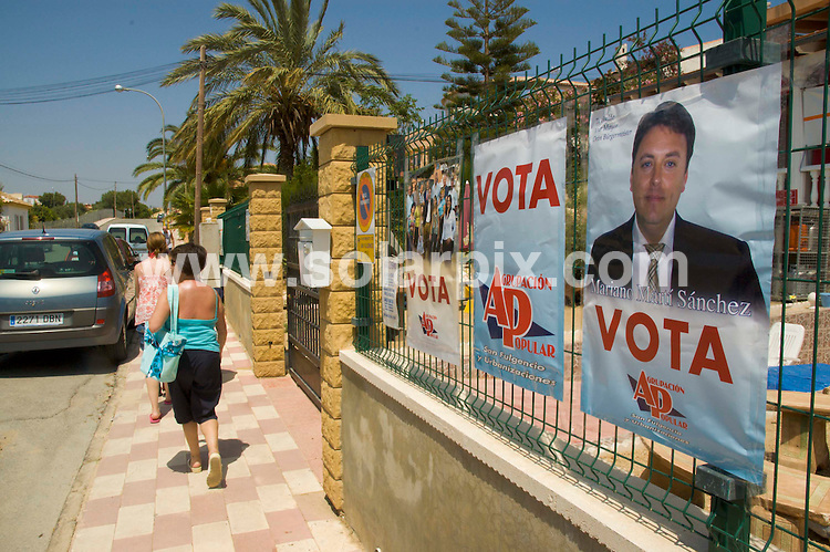 **ALL ROUND EXCLUSIVE PICTURES FROM SOLARPIX.COM**.**WORLDWIDE SYNDICATION RIGHTS**.pictures from the Spanish Council Elections in the town of San Fulgencio, near Torrevieja in Spain. pictures taken 24th May 2007...Yesterday, 29th October 2008, The Socialist Mayor of San Fulgencio, Trinidad Martínez, and two of her councillors, together with two other independent APFS councillors, have now been arrested as investigations into allegations of real estate corruption continue in the Alicante town. The Municipal lawyer has also been arrested, and it means that five of the seven councillors in the town have now been detained, leaving the Mark Lewis as acting mayor, an english expat who does not even speak spanish! .To go with story by Tom Worden 680 152 448..This pic: Mariano Marti Sanchez election poster..JOB REF: 7756 BHY        DATE: 24_05_2007.**MUST CREDIT SOLARPIX.COM OR DOUBLE FEE WILL BE CHARGED* *UNDER NO CIRCUMSTANCES IS THIS IMAGE TO BE REPRODUCED FOR ANY ONLINE EDITION WITHOUT PRIOR PERMISSION*