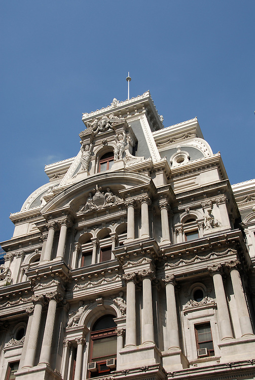 City Hall, ornate facade..Philadelphia, Pennsylvania, PA USA.  Photo copyright Lee Foster, 510-549-2202, lee@fostertravel.com, www.fostertravel.com. Photo 286-30899