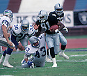 Oakland Raiders Tim Brown(81) in action during a game against the Seattle Seahawks at the Oakland-Alameda County Coliseum on November 15, 1997. The Raiders beat the Seahawks 21-3. Tim Brown played for 17  years with 2 different teams and was a 9-time Pro Bowler.David Durochik/SportPics