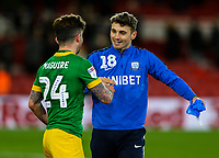 Preston North End's Sean Maguire celebrates with Ryan Ledson after the match<br /> <br /> Photographer Alex Dodd/CameraSport<br /> <br /> The EFL Sky Bet Championship - Middlesbrough v Preston North End - Wednesday 13th March 2019 - Riverside Stadium - Middlesbrough<br /> <br /> World Copyright &copy; 2019 CameraSport. All rights reserved. 43 Linden Ave. Countesthorpe. Leicester. England. LE8 5PG - Tel: +44 (0) 116 277 4147 - admin@camerasport.com - www.camerasport.com