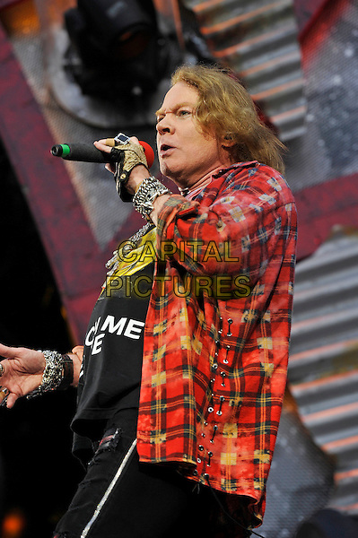 LONDON, ENGLAND - JUNE 4: Axl Rose(William Bruce Rose Jr) of 'AC/DC' performing at Queen Elizabeth Olympic Stadium on June 4, 2016 in London, England.<br /> CAP/MAR<br /> &copy;MAR/Capital Pictures