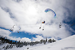 Speed Flying Sky Tavern above Reno, Nevada in the Lake Tahoe Basin. Speed Flying is using a paragliding wing and skis for epic descents in air and on snow. (Photo Scott Sady/TahoeLight.com)