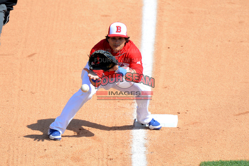 Buffalo Bisons third baseman Lance Zawadzki #4 takes a throw on a steal attempt during the second game of a doubleheader against the Pawtucket Red Sox on April 25, 2013 at Coca-Cola Field in Buffalo, New York.  Buffalo defeated Pawtucket 4-0.  (Mike Janes/Four Seam Images)