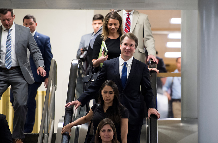 UNITED STATES - JULY 11: Supreme Court nominee Brett Kavanaugh makes his way to the Senate subway tunnel on his way to meet with Sen. Lindsey Graham, R-S.C., in the Russell Senate Office Building on his second day of meetings with senators in the Capitol on Wednesday, July 11, 2018. (Photo By Bill Clark/CQ Roll Call)