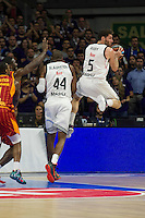 Real Madrid´s Rudy Fernandez and Marcus Slaughter and Galatasaray´s Carter during 2014-15 Euroleague Basketball match between Real Madrid and Galatasaray at Palacio de los Deportes stadium in Madrid, Spain. January 08, 2015. (ALTERPHOTOS/Luis Fernandez) /NortePhoto /NortePhoto.com