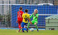 20200821 - Woluwe: Woluwe's Stephanie Suenens (17) has an attempt on goal during a friendly match between Femina WS Woluwe vs K Wuustwezel FC on 21th of August 2020, in Stade Fallon, Woluwe. PHOTO: Sportpix.be | SEVIL OKTEM