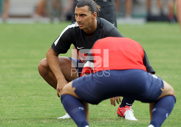 WASHINGTON, DC - July 28, 2012:  Zlatan Ibrahimovic (18) of PSG (Paris Saint-Germain)before playing in an international friendly match against DC United at RFK Stadium in Washington DC on July 28. The game ended in a 1-1 tie.