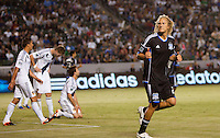 CARSON, California - May 23, 2012: The San Jose Earthquakes  defeated the LA Galaxy 3-2 during a Major League Soccer (MLS) game at Home Depot Center stadium.