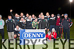 Champions<br /> -------------<br /> Tralee Dynamos celebrate after the beat Park 2-1 after extra time at Mounthawk,Tralee last Saturday night in the Kerry Area Munster Junior Cup Final.
