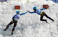 January 5th 2020, Changchun, China;  Valeriia Bogdan and Maria Tolokonina of Russia celebrate during for womens speed final at 2019-2020 UIAA International Climbing and Mountaineering Federation Ice Climbing World Cup at Lotus Mountain in Changchun, capital of northeast Chinas Jilin Province