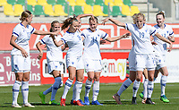 20190301 - LARNACA , CYPRUS : Finnish Olga Ahtinen (8) pictured celebrating her goal and the 1-0 lead with Jenny Danielsson (13) and Kaisa Collin (19)during a women's soccer game between Finland and Czech Republic , on Friday 1 March 2019 at the AEK Arena in Larnaca , Cyprus . This is the second game in group A for Both teams during the Cyprus Womens Cup 2019 , a prestigious women soccer tournament as a preparation on the Uefa Women's Euro 2021 qualification duels. PHOTO SPORTPIX.BE | DAVID CATRY