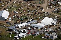 aerial photograph rural junk yard at farm, Petaluma, Sonoma county, California