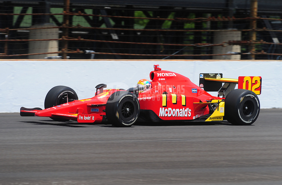 May 25, 2008; Indianapolis, IN, USA; IRL driver Justin Wilson during the 92nd running of the Indianapolis 500 at the Indianapolis Motor Speedway. Mandatory Credit: Mark J. Rebilas-