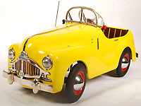 BNPS.co.uk (01202 558833)<br /> Pic: EastBristolAuctions/BNPS<br /> <br /> £5,000  - An extremely rare, likely unique, prototype vintage 1950's Tri-ang Centurion child's pedal car. <br />   <br /> Toy story...<br /> <br /> A remarkable lifetime collection of 30 vintage toy cars has emerged for sale for more than £65,000.<br /> <br /> The fleet of rare pedal cars were acquired over almost half a century by retired car garage owner David Worrow, 72.<br /> <br /> During their time with Mr Worrow they formed what was believed to be the biggest private collection of its kind in the world.