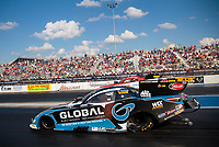 Sep 29, 2019; Madison, IL, USA; NHRA funny car driver Shawn Langdon during the Midwest Nationals at World Wide Technology Raceway. Mandatory Credit: Mark J. Rebilas-USA TODAY Sports