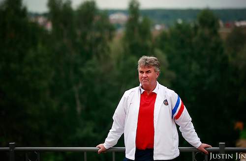 Portrait of Russia's national football team coach Guus Hiddink at the team's training grounds. Hiddink, originally from the Netherlands, made fame by coaching the South Korean and Australian national teams to great success during successive World Cups.