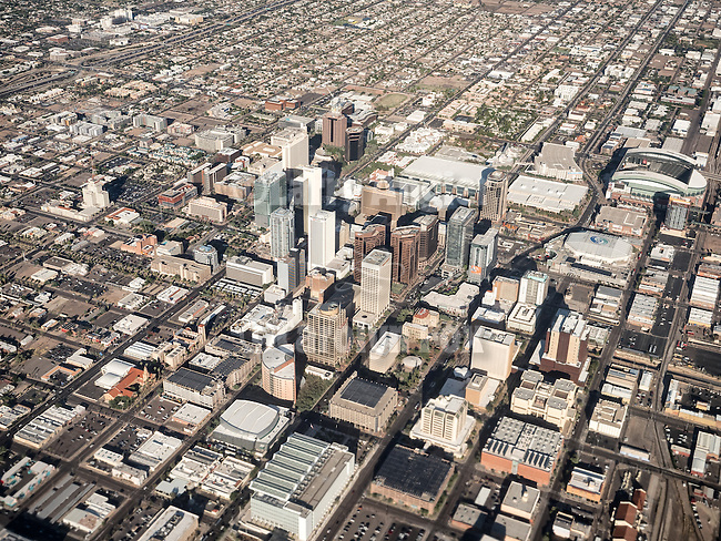 A window seat departing Phoenix, Arizona, Chase Field on the right.