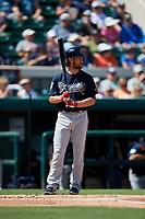 Atlanta Braves second baseman Charlie Culberson (8) at bat during a Grapefruit League Spring Training game against the Detroit Tigers on March 2, 2019 at Publix Field at Joker Marchant Stadium in Lakeland, Florida.  Tigers defeated the Braves 7-4.  (Mike Janes/Four Seam Images)