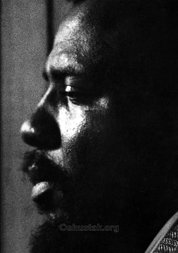 "Thelonious Monk recording for RiverSide Records, NYC, c. 1957. This photograph is the cover image of the 1959 Riverside LP ""THELONIOUS MONK - 5 BY MONK BY 5"""