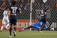 New York Red Bulls forward Thierry Henry (14) scores a goal past LA Galaxy goal keep Donovan Ricketts (1). The LA Galaxy and Red Bulls of New York played to a 1-1 tie at Home Depot Center stadium in Carson, California on  May 7, 2011....