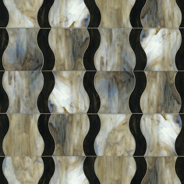 Nile, a waterjet jewel glass mosaic, shown in glass Jasper and Lavastone.