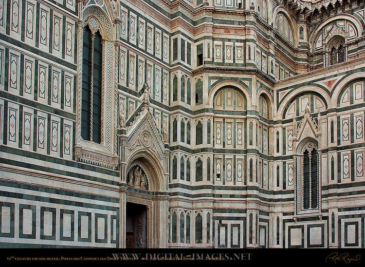 14th c Facade detail Porta dei Canonici Right Transept Andrea Orcagna Taddeo Gaddi Santa Maria del Fiore Florence