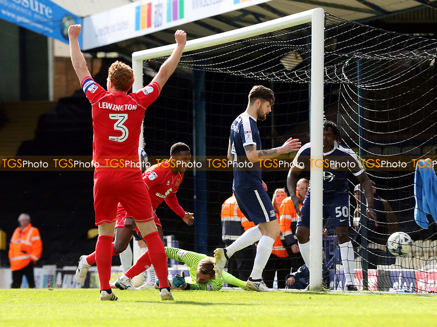 MK Dons players celebrate their opening goal scored by Joe Walsh during Southend United vs MK Dons, Sky Bet EFL League 1 Football at Roots Hall on 17th April 2017