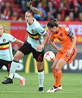 20170724 - TILBURG , NETHERLANDS : Belgian Tine De Caigny (L) and Dutch Sherida Spitse (R)  pictured during the female soccer game between Belgium and The Netherlands  , the thirth game in group A at the Women's Euro 2017 , European Championship in The Netherlands 2017 , Monday 24 th June 2017 at Stadion Koning Willem II  in Tilburg , The Netherlands PHOTO SPORTPIX.BE | DIRK VUYLSTEKE