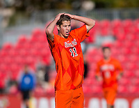 David Clemens (11) of Virginia Tech reacts to missing a shot on goal during the game at Ludwig Field in College Park, MD. Virginia Tech defeated North Carolina State, 3-2, in the ACC tournament play-in game.