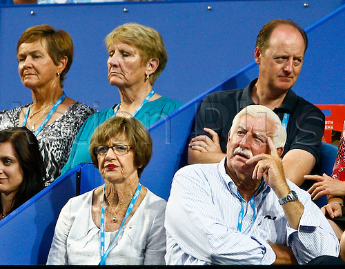 01.01.2013  Perth, Australia.  Former Australian world number 1 Margaret Court watches the tennis with her husband Barry during the Hyundai Hopman cup from the Perth Arena.
