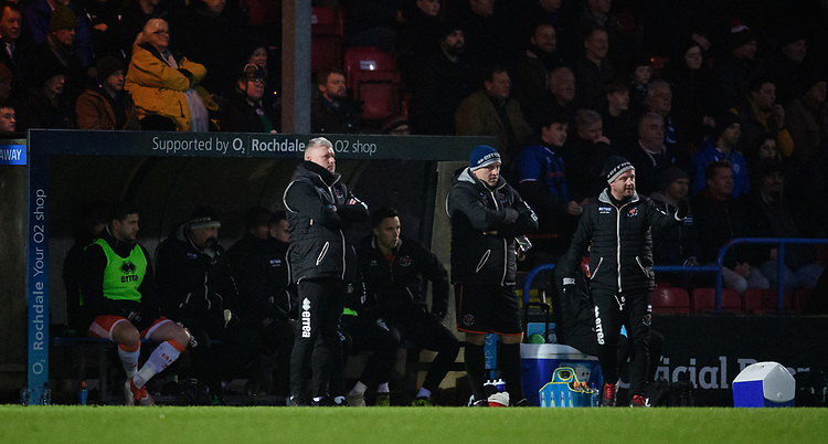 Blackpool's manager Terry McPhillips shouts instructions to his team from the technical area<br /> <br /> Photographer Chris Vaughan/CameraSport<br /> <br /> The EFL Sky Bet League One - Rochdale v Blackpool - Wednesday 26th December 2018 - Spotland Stadium - Rochdale<br /> <br /> World Copyright © 2018 CameraSport. All rights reserved. 43 Linden Ave. Countesthorpe. Leicester. England. LE8 5PG - Tel: +44 (0) 116 277 4147 - admin@camerasport.com - www.camerasport.com