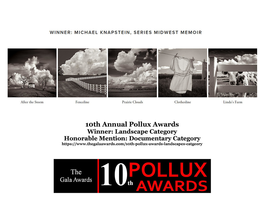 A series of photographs by Michael Knapstein were named the winner of the top award in the Landscape Category of the 10th Annual Pollux Awards, an international competition based in Bath, England.